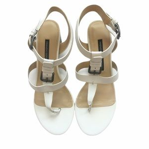 French Connection white leather sandals 38.5 EUC